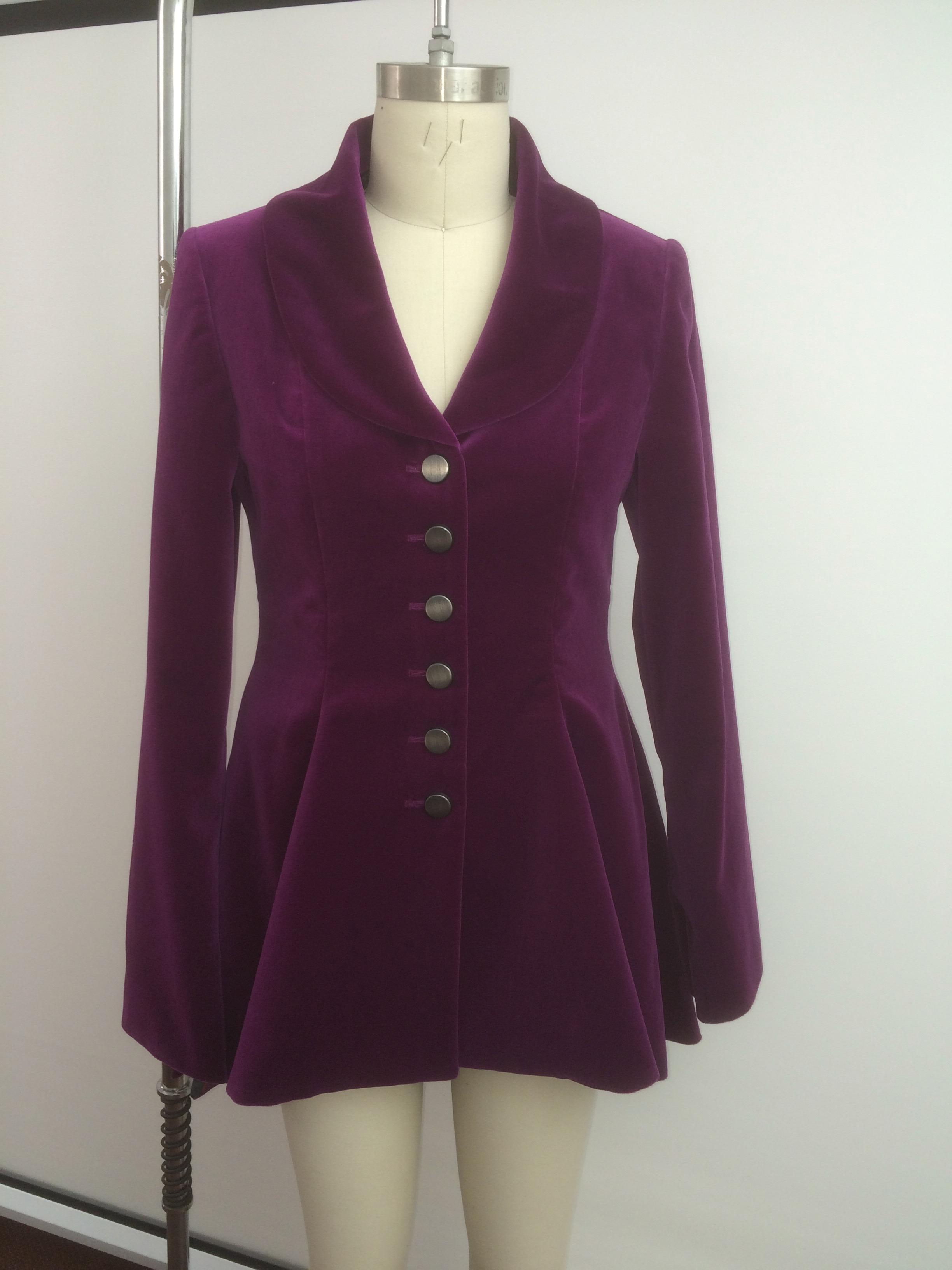 magenta bespoke velvet jacket