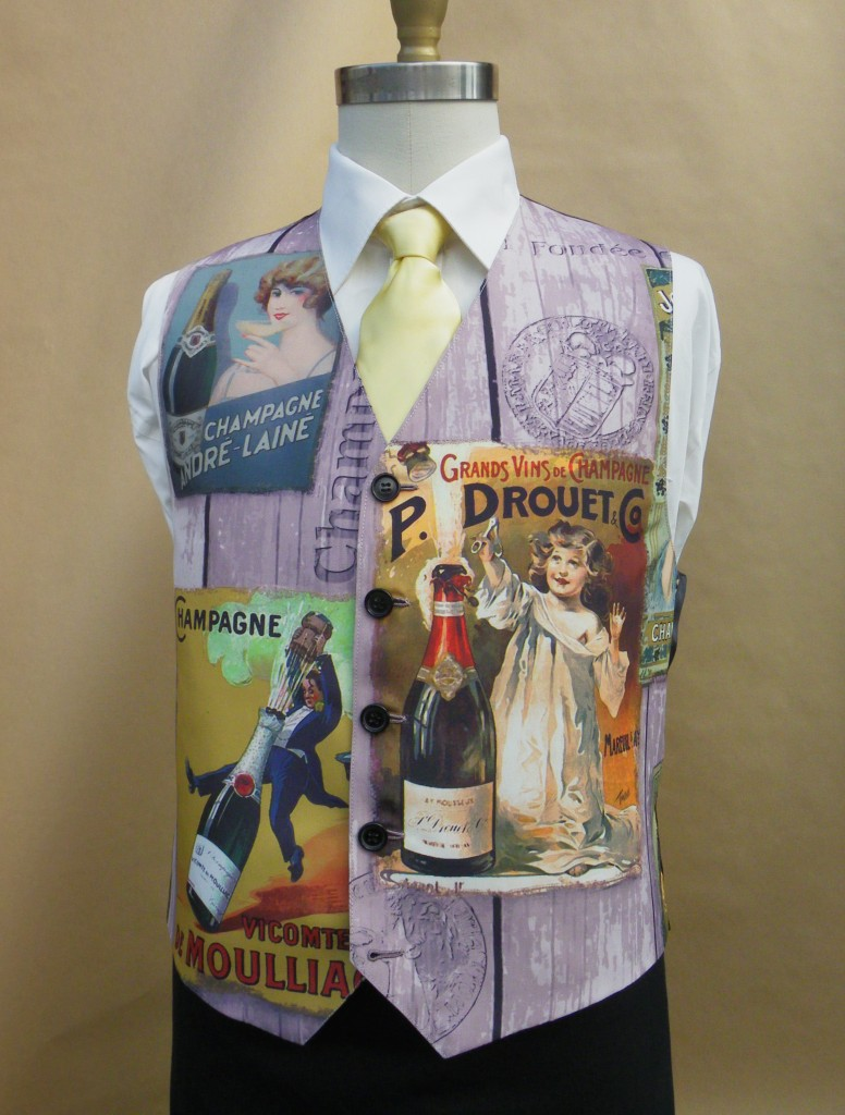 mens bespoke waistcoat cut from a tablecoth