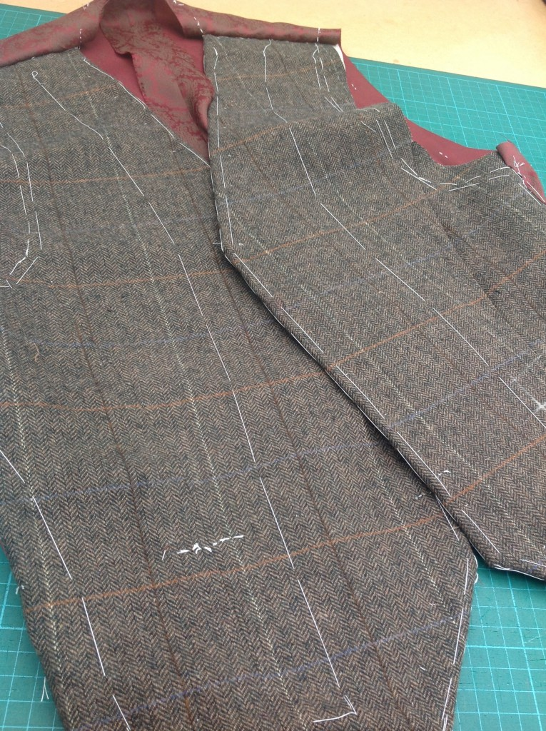 bespoke waistcoat basted for fitting