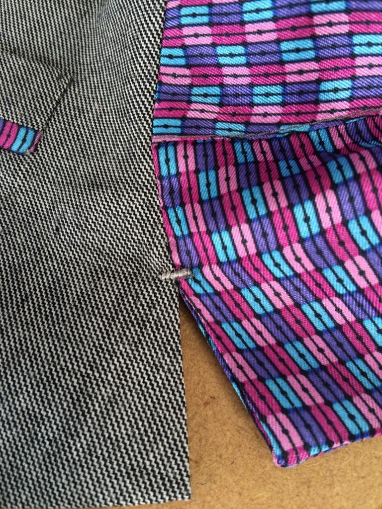 ladies bespoke waistcoat hand sewing detail