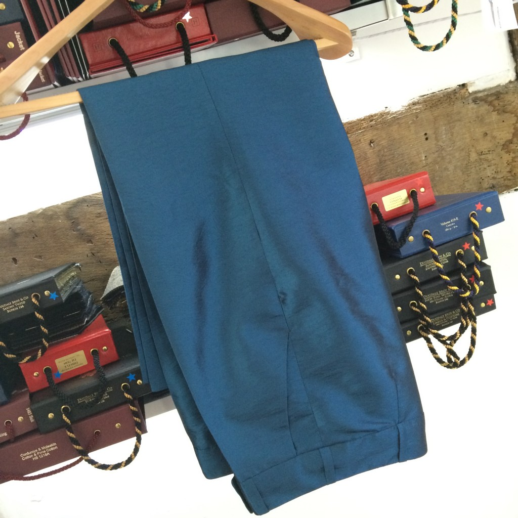 ladies teal bespoke evening trousers