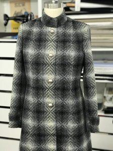 diamond weave tweed overcoat